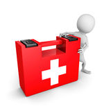 White 3d man with red first aid kit box. 3d render illustration Royalty Free Stock Photography