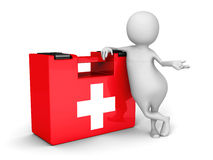 White 3d Man With Red First Aid Medical Kit. 3d Render Illustration Stock Photo