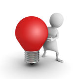 White 3d man with red idea light bulb. 3d render illustration Stock Photo