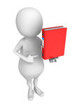 White 3d man with red office ring binder. 3d render illustration Royalty Free Stock Image