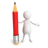 White 3d man with red pencil Royalty Free Stock Photos