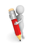 White 3d man with red pencil Royalty Free Stock Images