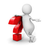 White 3d Man With Red Question Mark Royalty Free Stock Photography