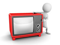 White 3d man with red retro TV. 3d render illustration Stock Photo