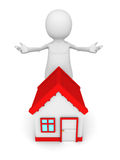White 3d man with red roof house welcome gesture Stock Photography
