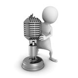 White 3d man with retro vintage microphone Stock Images