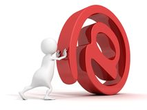 White 3d man rolls red at e-mail sign Stock Photography