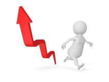 White 3d Man Running Arrow Way Forward. Success Concept Stock Image