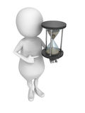 White 3d man with sand hourglass. 3d render illustration Royalty Free Stock Image