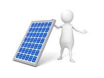 White 3d man with solar battery Royalty Free Stock Images
