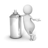 White 3d Man With Spray Paint Can Royalty Free Stock Photos