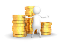 White 3d man and a stack of golden dollar coins Stock Photography
