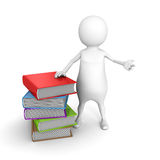 White 3d man stand near stack of colorful books. 3d render illustration Royalty Free Stock Images