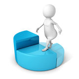 White 3d man steps up on pie chart diagram Stock Image