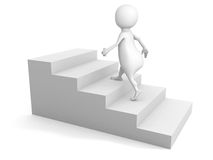 White 3d man steps up on stair ladder. success concept. 3d render illustration Royalty Free Stock Photography