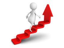 White 3d man steps up on success ladder arrow. 3d render illustration Royalty Free Stock Image