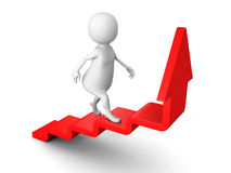 White 3d man steps up on success ladder arrow Stock Photography