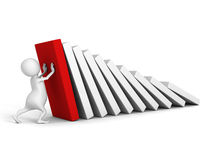 White 3d man stop domino effect with red first. 3d render illustration Royalty Free Stock Image