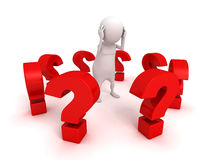 White 3d man surrounded red problem question marks Stock Photography