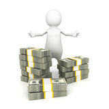 White 3d man with thousand dollar bills Stock Images