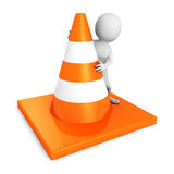 White 3d man with traffic road cones. 3d render illustration Stock Photography