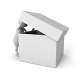 White 3d man watch in empty opened cover box container Royalty Free Stock Photos