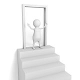 White 3d man. Welcome to open door Stock Photo