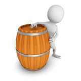 White 3d man with wooden wine barrel Royalty Free Stock Photos
