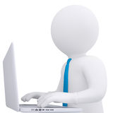 White 3d man working at his laptop. Render on white background Royalty Free Stock Images