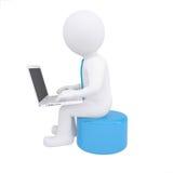 White 3d man working at his laptop stock illustration