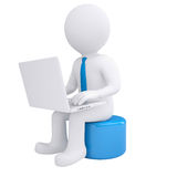 White 3d man working at his laptop. Render on white background Royalty Free Stock Photos