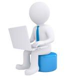 White 3d man working at his laptop royalty free illustration
