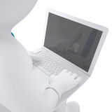 White 3d man working at his laptop. Render on white background Stock Image