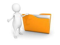 White 3d man with yellow document folder Stock Image