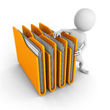 White 3d man with yellow office folders Royalty Free Stock Image