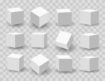 White 3d modeling cubes. White blocks. 3d modeling white cubes vector illustration stock illustration