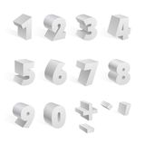 White 3d numbers isolated font on white background Stock Images