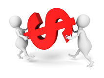 White 3d people carry big red dollar currency symbol. 3d render illustration Stock Image