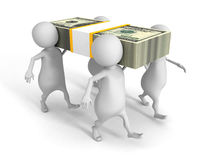 White 3d people carry on hundred dollars pack Royalty Free Stock Image