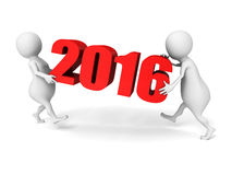 White 3d People Carry 2016 New Year Numbers. 3d Render Illustration Royalty Free Stock Images