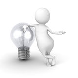 White 3d People With Light Bulb Stock Photography