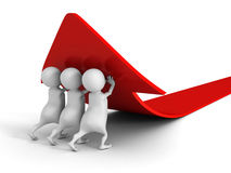 White 3d people pushing up red rising arrow Stock Photography