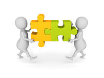 White 3d people team assemble two piece of a puzzle. Teamwork concept 3d render illustration Stock Photos
