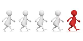 White 3d people team group with red forward leader. 3d Royalty Free Stock Photos