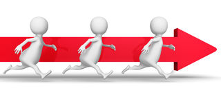 White 3d People Team Running Forward Arrow. Success Business Con Royalty Free Stock Photos