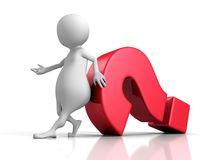 White 3d Person With Big Red Question Mark Stock Photos