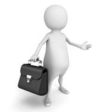 White 3d person with black leather briefcase Stock Photo