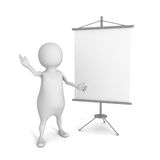 White 3d person with blank advertising billboard. 3d render illustration Stock Photos