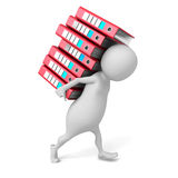White 3d Person Carries Pile Of Ring Binders. 3d Render Illustration Royalty Free Stock Image