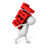 White 3d person carry heavy DEBT red word Royalty Free Stock Photo
